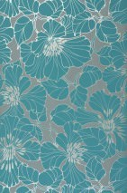 Wallpaper Indra Shimmering pattern Matt base surface Flowers Grey Silver lustre Turquoise