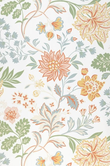 Wallpaper Ebba Hand printed look Matt Flower tendrils Cream Green Green blue Light ivory Red orange Sand yellow