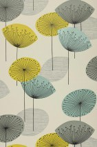 Wallpaper Dana Matt Stylised blossoms Light ivory Yellow green Grey Black Turquoise lustre