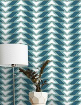 Wallpaper Fantaghiro Shimmering pattern Matt base surface Triangles Graphic elements Turquoise blue Pearl gold White