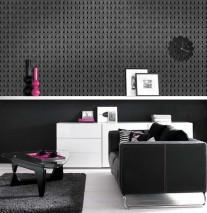 Wallpaper Miru Shimmering pattern Matt base surface Stylised letter Y Dark grey Silver