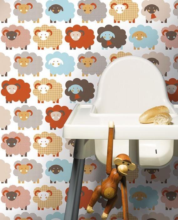 Wallpaper Marketa Matt Sheep White Dark brown Light blue Light brown beige Light grey brown Red