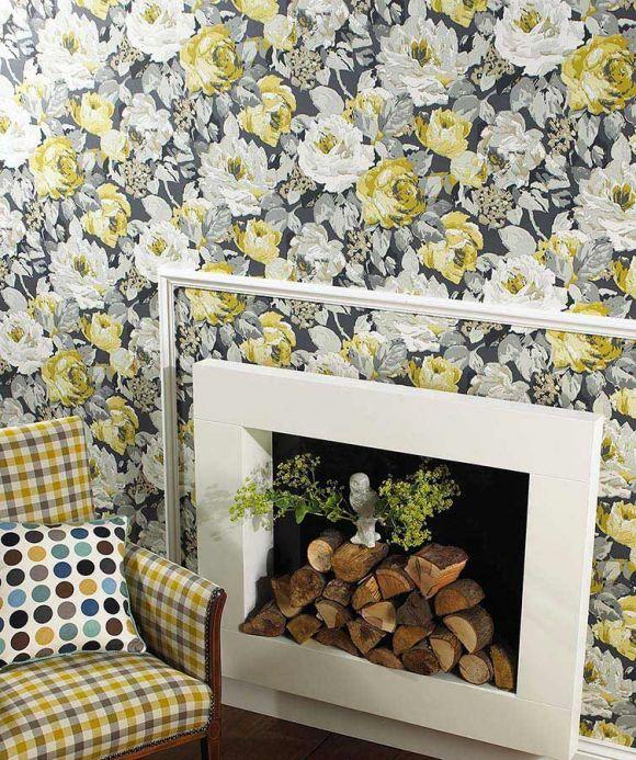 Archiv Wallpaper Atira olive yellow Room View