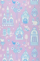 Papel pintado Slottsträdgarden Efecto impreso a mano Mate Árboles Flores Búhos Castillo Pájaros Violeta pastel Azul cielo Blanco
