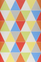 Wallpaper Ulric Matt Triangles Blue Yellow Orange Red White