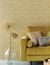 Wallpaper Worana Matt pattern Shimmering base surface Graphic elements Hexagons Rhombuses Pearl gold Grey white