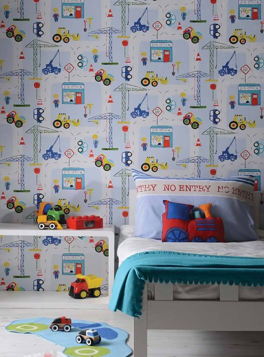 Wallpaper Construction Matt Site vehicles Toys Blue white Yellow Green Red White