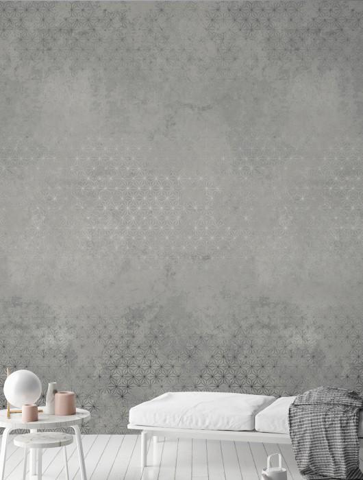Wallpaper Nuka Matt Imitation beton Stars Grey tones White