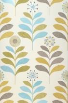 Papier peint Tessa Mat Fleurs stylisées Blanc crème Jaune curry Blanc gris brillant Vert olive clair Turquoise pastel chatoyant