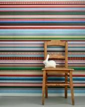 Papier peint Ribbon Mat Rubans Bleu Jaune Vert Rouge