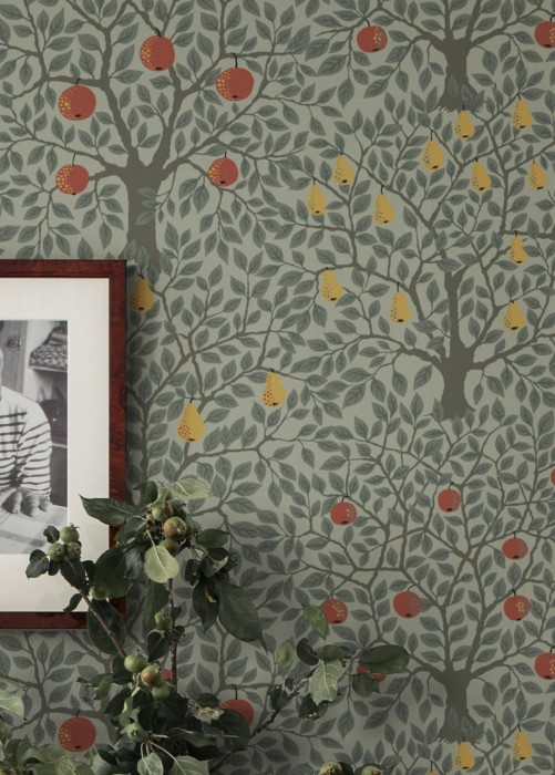 Wallpaper Berita Matt apples Trees Birnen Zartgrün Grey brown Moss grey Red Saffron yellow