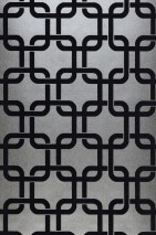 Wallpaper Gizmo Shimmering Retro squares Silver grey Black grey