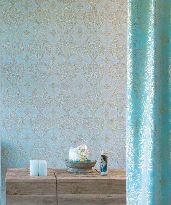 Archiv Wallpaper Rosmerta pastel turquoise Room View