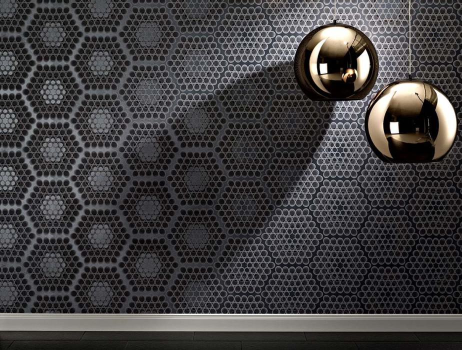 Wallpaper Cedric Matt Hexagons Circular pattern Pearl dark grey Graphite grey Platinum grey