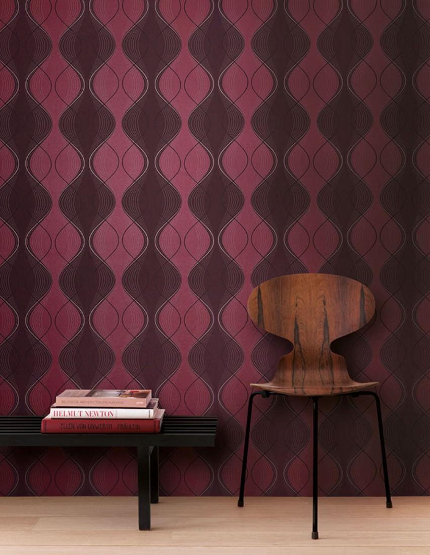 Papier peint opoga noir rouge rose pastel chatoyant rubis chatoyant pap - Papier peint annee 70 ...