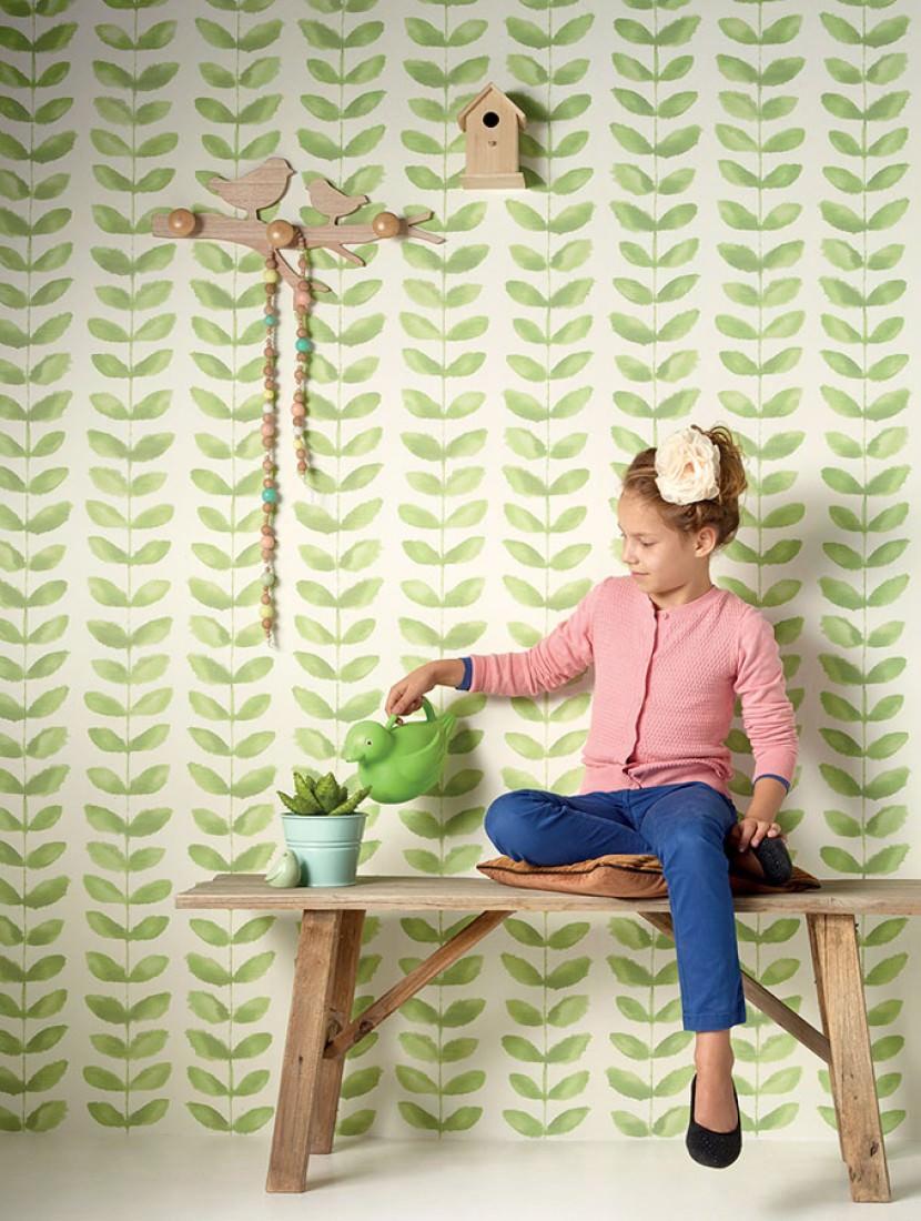 papier peint yonira blanc cr me vert jaune brillant papier peint des ann es 70. Black Bedroom Furniture Sets. Home Design Ideas