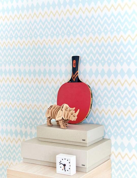 Papier peint Tomoko Aspect impression à la main Mat Zigzag Blanc crème Jaune clair Turquoise pastel
