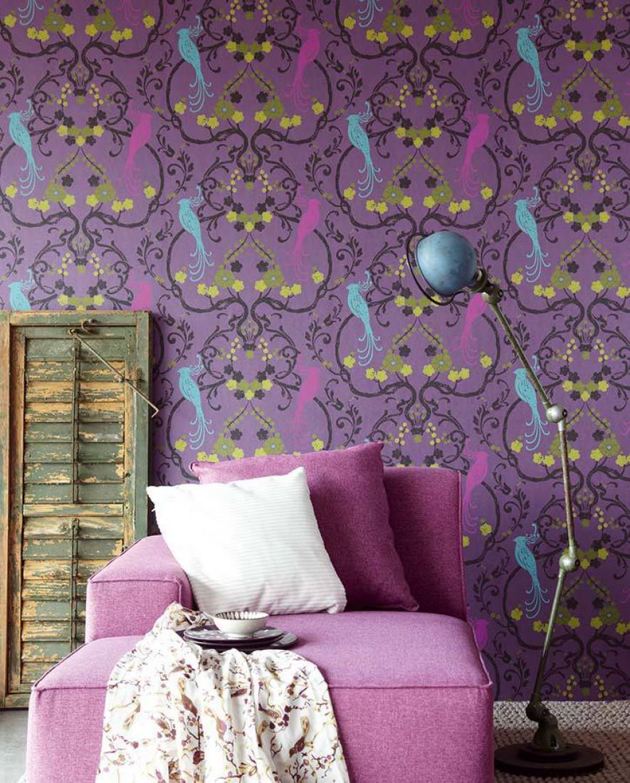 Tapete bellona violett schimmer erikaviolett gelbgr n for Tapete violett