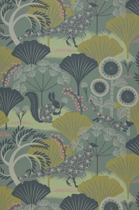 Wallpaper Zaida Hand printed look Matt Leaves Blossoms Animals Grey green Antique pink Anthracite Pale green Pebble grey Olive yellow