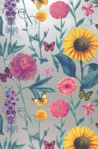 Wallpaper Filomena Matt pattern Shimmering base surface Flowers Butterflies Pearl beige Dark green Yellow Violet tones