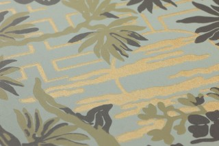 Wallpaper Winsam Hand printed look Matt Trees Graphic elements Birds Mint grey Grey olive Matt gold Reed green