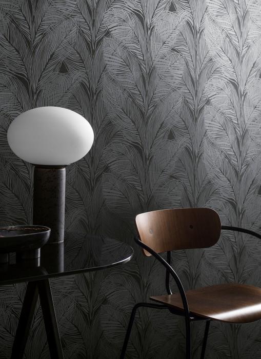 Papel de parede Feodor Padrão brilhante Superfície base mate Folhas Cinza basalto Cinza escuro pérola