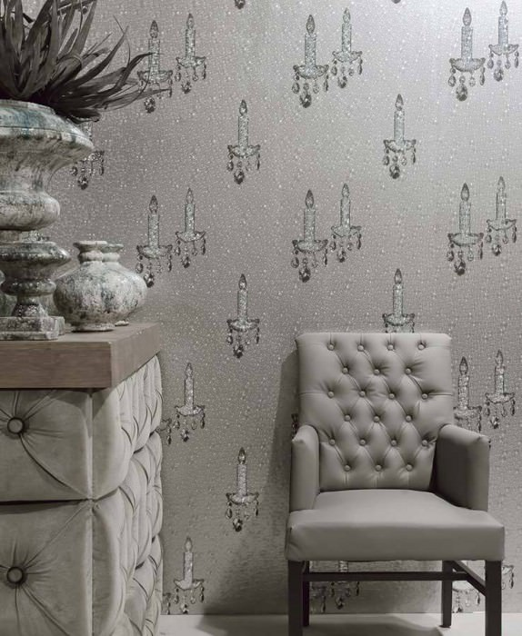 Wallpaper Ashera Hologram effect Candles on water droplets Silver grey Black Silver grey lustre