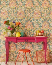 Wallpaper Lompal Matt Shabby chic Looks like textile Ethnic Ornaments Indian Style Pine green Dark violet Yellow green Gorze yellow  Raspberry red Orange