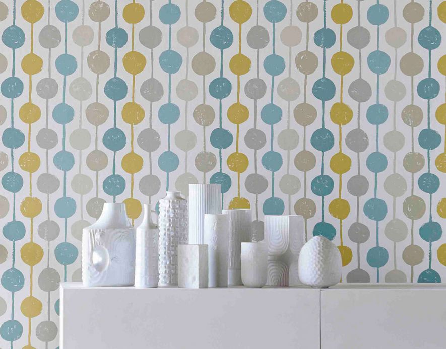 Striped Wallpaper Wallpaper Almeda mint turquoise Room View