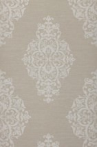Wallpaper Aramas Matt Looks like textile Baroque damask Light grey beige Grey white glitter
