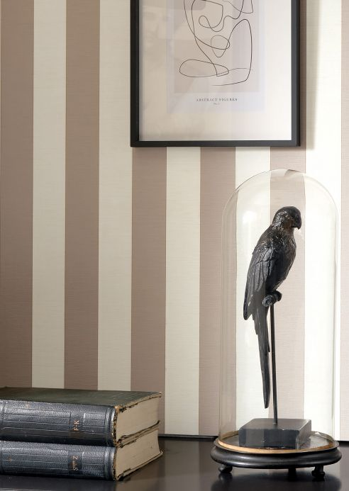 Striped Wallpaper Wallpaper Innesto beige grey Room View
