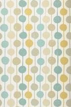 Wallpaper Almeda Matt Dots Stripes Cream Beige Mint turquoise Ochre yellow Reed green