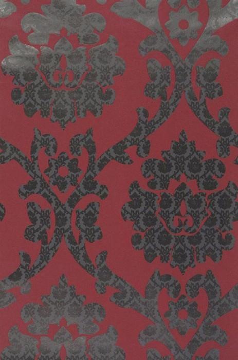 Wallpaper Maresa Shimmering pattern Matt base surface Baroque damask Dark red Grey Black grey