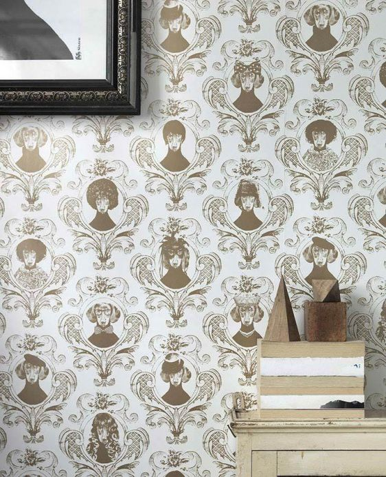 Damask Wallpaper Wallpaper Tillsammans grey beige Room View