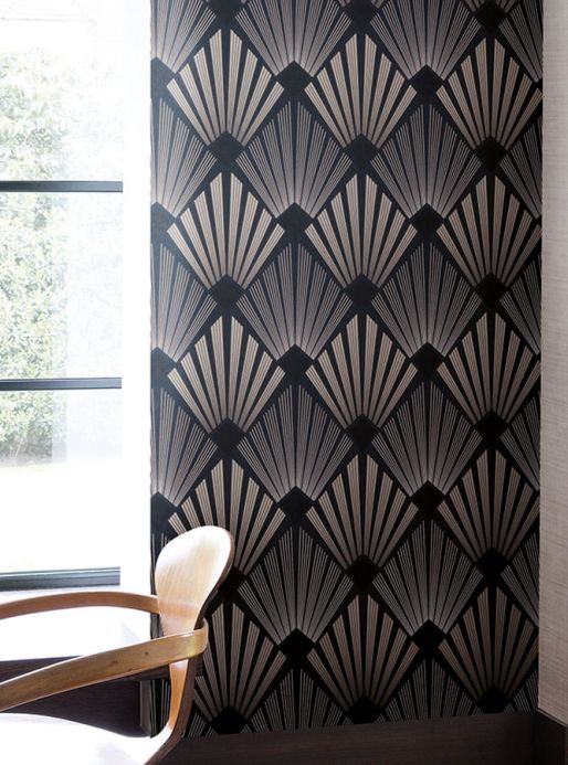 Classic Wallpaper Wallpaper Pontinius anthracite Room View