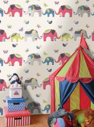Wallpaper Elephants strawberry red