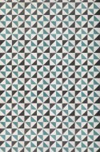 Wallpaper Fez Matt Imitation tiles Black brown Turquoise White