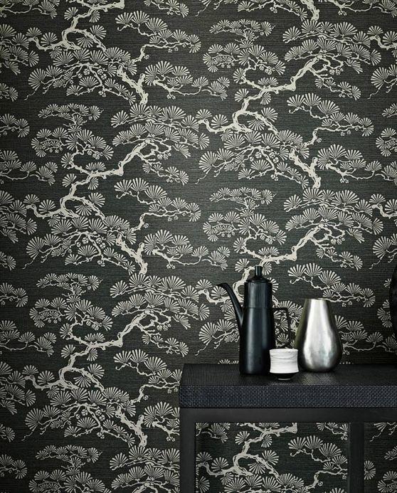 Archiv Wallpaper Komolung grey white shimmer Room View