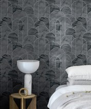 Papel de parede Zania Padrão brilhante Superfície base mate Art Déco Curvas Cinza escuro Cinza Aluminio branco