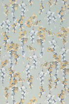 Carta da parati Birla Opaco Rami con foglie Turchese menta pallido Bianco crema Blu grigiastro Dorato opaco