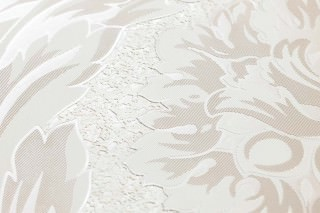Wallpaper Clarissa Shimmering Stylised Flower Tendrils Cream Brown white Light grey beige White
