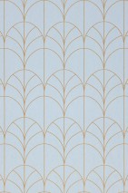 Wallpaper Ninon Shimmering pattern Matt base surface Art Deco Bends Pale blue Pearl gold
