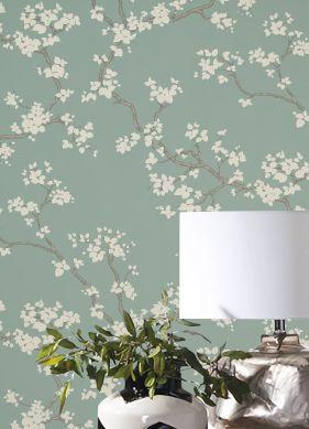 Papier peint Sakura turquoise pastel Raumansicht