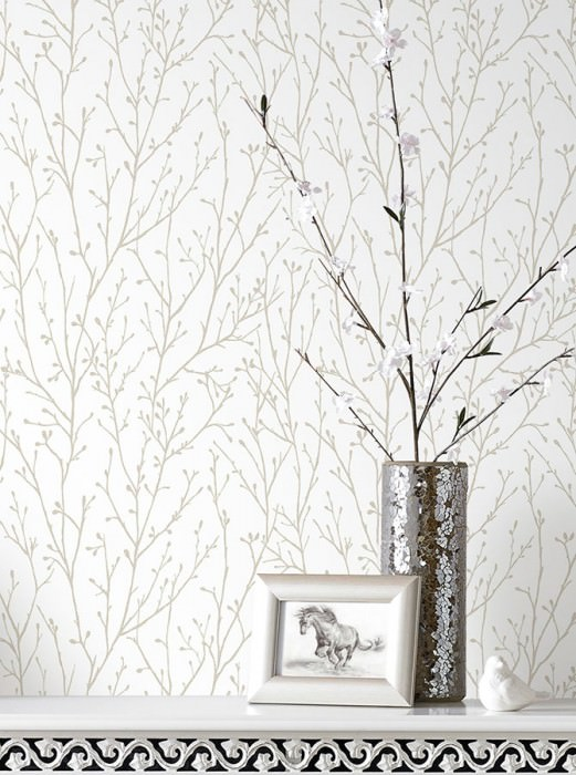 Wallpaper Nurija Matt Branches Cream Gold glitter