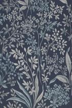 Carta da parati Pilar Opaco Foglie Fioritura Frutti Blu grigiastro Grigio Blu verdastro Grigio chiaro