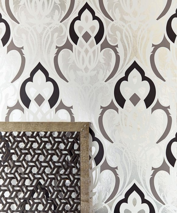 Wallpaper Letona Matt pattern Shiny base surface Modern damask Silver lustre Dark grey Black White
