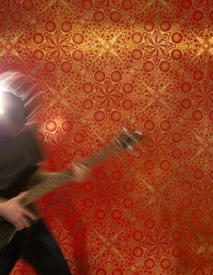 Tapete Musical Mandala Orientrot Raumansicht