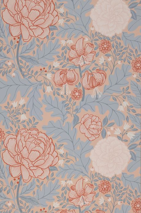 Floral Wallpaper Wallpaper Tribeca light beige-red Bahnbreite
