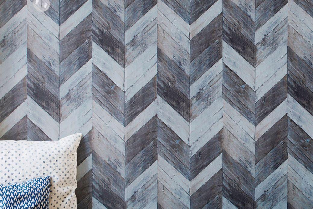 Archiv Papel de parede Wood Herringbone cinza azulado Ver quarto