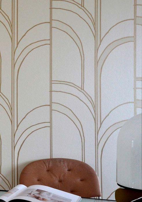 Papel de parede glamouroso Papel de parede Arches branco creme brilhante Ver quarto